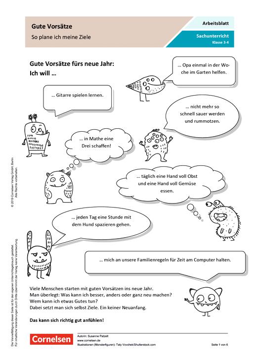 Gute Vorsätze: So plane ich meine Ziele - Arbeitsblatt - Webshop-Download