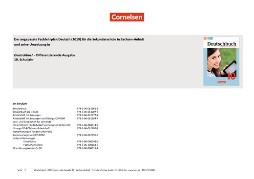 Deutschbuch - Planungshilfe für Sachsen-Anhalt (2019) - 10. Schuljahr
