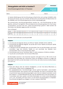 Streng geheim und nicht zu knacken? - Verschlüsselungstechniken im Praxistest - Arbeitsblatt