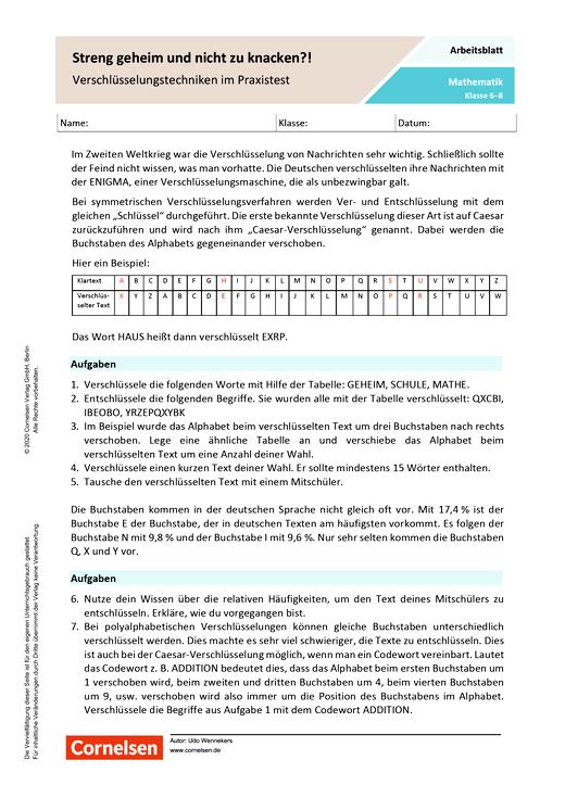 Streng geheim und nicht zu knacken? - Verschlüsselungstechniken im Praxistest - Arbeitsblatt mit Lösungen