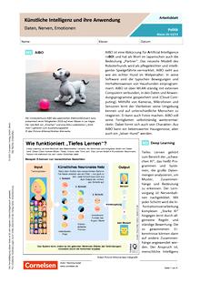 Künstliche Intelligenz und ihre Anwendung. Daten, Nerven, Emotionen - Arbeitsblatt