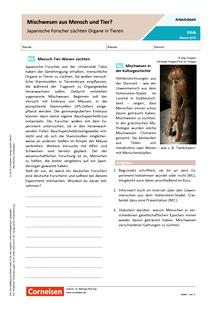 Mischwesen aus Mensch und Tier - Arbeitsblatt mit Lösungen