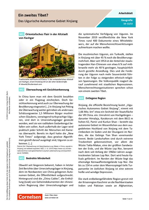 Ein zweites Tibet? - Das Uigurische Autonome Gebiet Xinjiang - Arbeitsblatt mit Lösungen