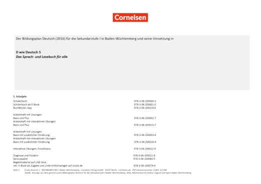 D wie Deutsch - Stoffverteilungsplan für Baden-Württemberg - 5. Schuljahr