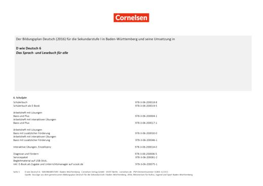 D wie Deutsch - D wie Deutsch 6 - Stoffverteilungsplan Bildungsplan Deutsch SEK I Baden-Württemberg - Stoffverteilungsplan - 6. Schuljahr