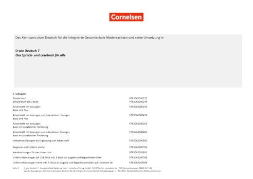 D wie Deutsch - Stoffverteilungsplan für die Integrierte Gesamtschule Niedersachsen - 7. Schuljahr