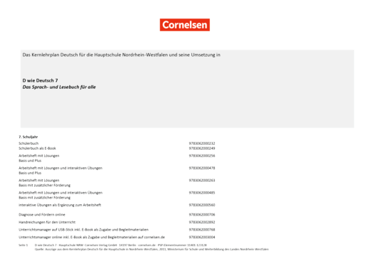 D wie Deutsch - Stoffverteilungsplan für die Hauptschule Nordrhein-Westfalen - 7. Schuljahr