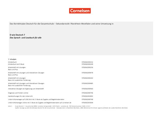 D wie Deutsch - Stoffverteilungsplan für die Gesamtschule Nordrhein-Westfalen - 7. Schuljahr