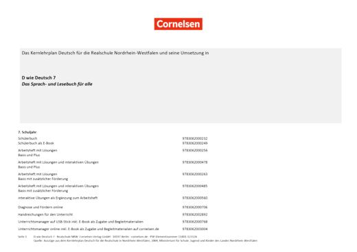 D wie Deutsch - Stoffverteilungsplan für die Realschule Nordrhein-Westfalen - 7. Schuljahr