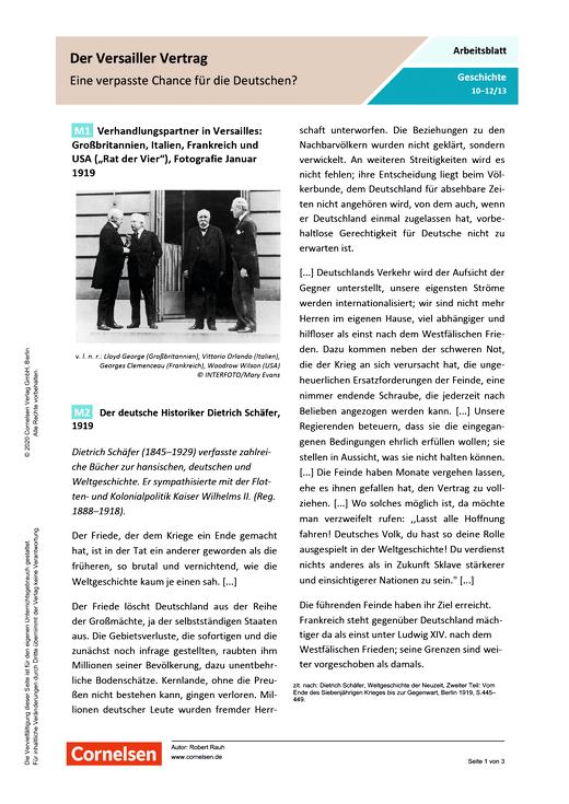 Der Versailler Vertrag - eine verpasste Chance für die Deutschen? - Arbeitsblatt mit Lösungen
