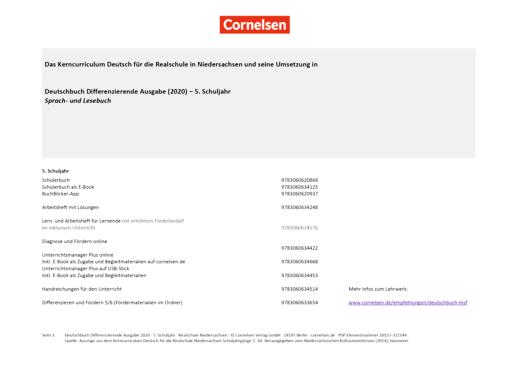 Deutschbuch - Stoffverteilungsplan für die Realschule Niedersachsen - 5. Schuljahr