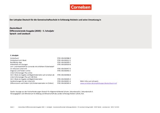 Deutschbuch - Stoffverteilungsplan für die Gesamtschule Schleswig-Holstein - 5. Schuljahr