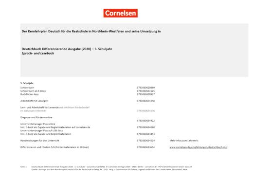 Deutschbuch - Stoffverteilungsplan für die Realschule Nordrhein-Westfalen - 5. Schuljahr