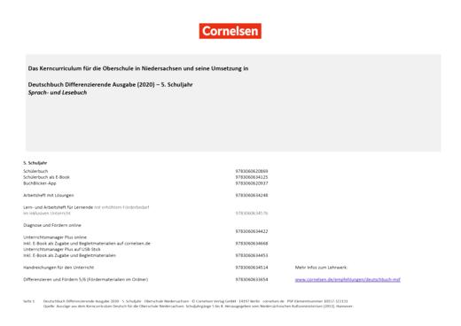 Deutschbuch - Stoffverteilungsplan für die Oberschule Niedersachsen - 5. Schuljahr