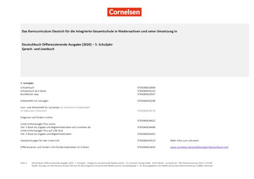 Deutschbuch - Stoffverteilungsplan für die Integrierte Gesamtschule Niedersachsen - 5. Schuljahr