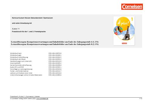 À plus ! Neubearbeitung - Planungshilfe Kerncurriculum Französisch Gymnasium Hessen - Band 1