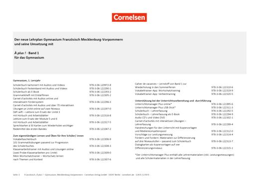 À plus ! Neubearbeitung - Planungshilfe für den Lehrplan Französisch Gymnasium Mecklenburg-Vorpommern - Band 1