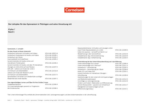 À plus ! Neubearbeitung - Planungshilfe Lehrplan Französisch Gymnasium Thüringen - Band 1