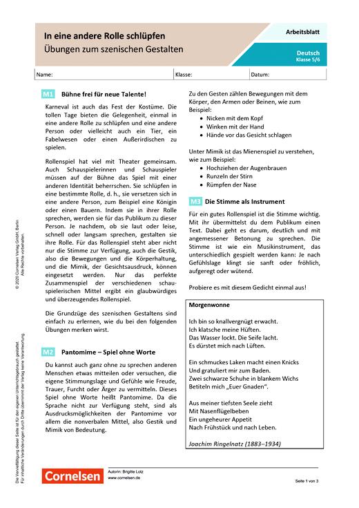 In eine andere Rolle schlüpfen - Übungen zum szenischen Gestalten - Arbeitsblatt