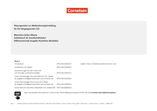 Menschen-Zeiten-Räume - Planungsraster zur Medienkonzepterstellung - 5./6. Schuljahr