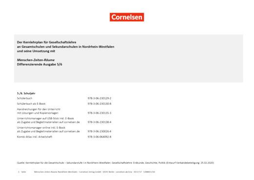 Menschen-Zeiten-Räume - Planungshilfe für Gesamt- und Sekundarschulen in Nordrhein- Westfalen - 5./6. Schuljahr