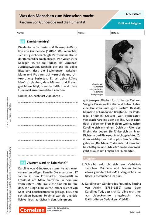 Was den Menschen zum Menschen macht - Karoline von Günderode und die Humanität - Arbeitsblatt mit Lösungen