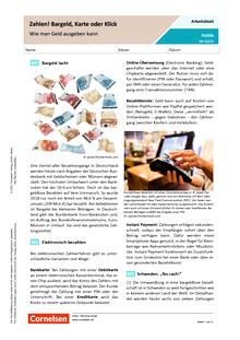 Zahlen! Bargeld, Karte oder Klick - Wie man Geld ausgeben kann - Arbeitsblatt mit Lösungen