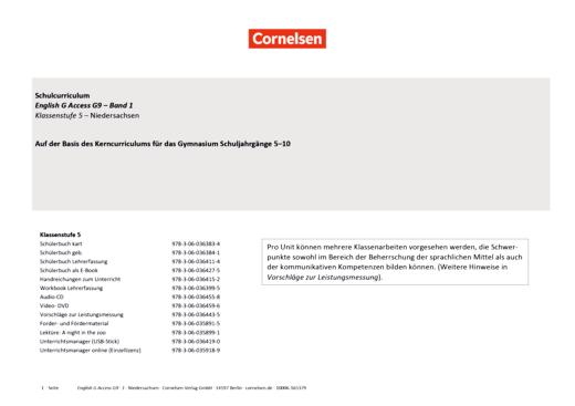 English G Access - Planungshilfe für ein schulinternes Curriculum Niedersachsen - Band 1: 5. Schuljahr