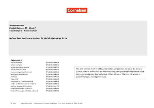 English G Access - English G Access G9 Ausgabe 2019 Band 2 (6. Schuljahr) - Planungshilfe für ein schulinternes Curriculum Niedersachsen - Synopse - Band 2: 6. Schuljahr