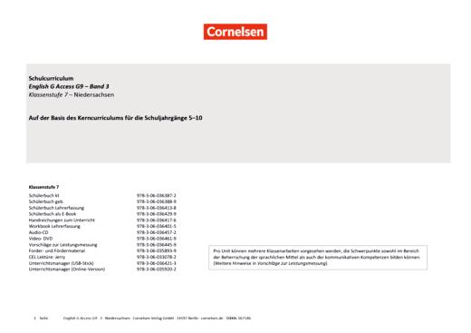 Access - Planungshilfe für ein schulinternes Curriculum Niedersachsen - Band 3: 7. Schuljahr