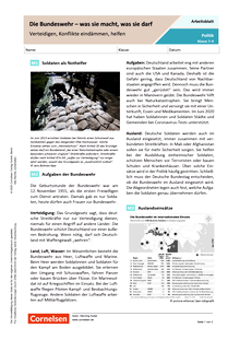 Die Bundeswehr - was sie macht, was sie darf. Verteidigen, Konflikte eindämmen, helfen - Arbeitsblatt