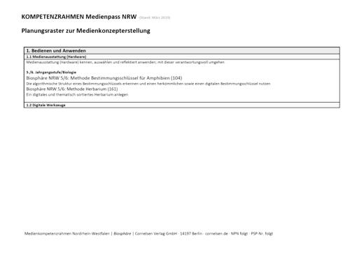 Biosphäre Sekundarstufe I - Planungsraster zur Medienkonzepterstellung - 7.-10. Schuljahr