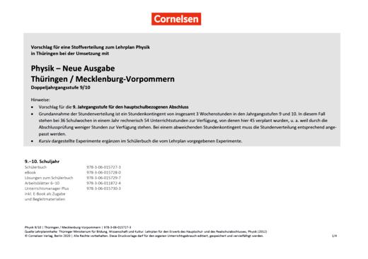 Physik - Neue Ausgabe - Synopse für die Hauptschule Thüringen - 9./10. Schuljahr
