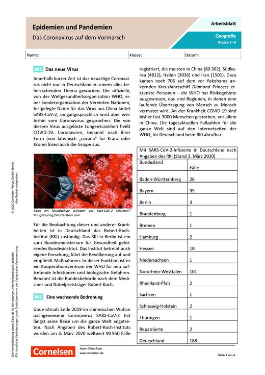 Epidemien und Pandemien - Das Coronavirus auf dem Vormarsch - Arbeitsblatt mit Lösungen