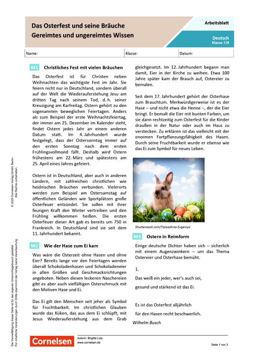 Das Osterfest und seine Bräuche - Gereimtes und ungereimtes Wissen - Arbeitsblatt