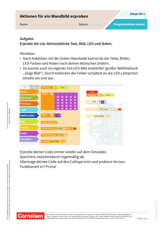 Klexer: Programmieren lernen. Aktionen für ein Wandbild erproben - Kopiervorlagen