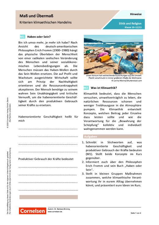 Maß und Übermaß – Kriterien klimaethischen Handelns - Arbeitsblatt mit Lösungen