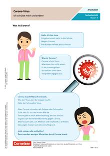 Corona-Virus - Ich schütze mich und andere - Arbeitsblatt mit Lösungen