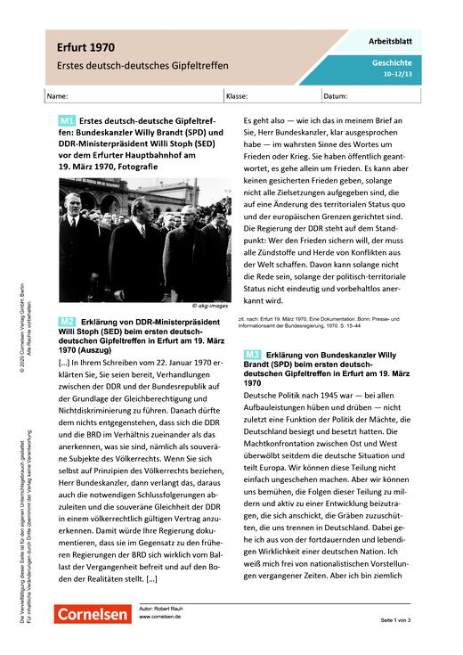 Erstes deutsch-deutsche Gipfeltreffen 1970 - Arbeitsblatt mit Lösungen