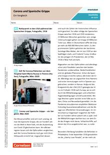 Corona und Spanische Grippe - ein Vergleich - Arbeitsblatt mit Lösungen