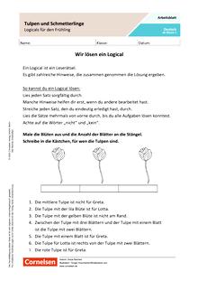 Tulpen und Schmetterlinge  Logicals für den Frühling - Arbeitsblatt mit Lösungen