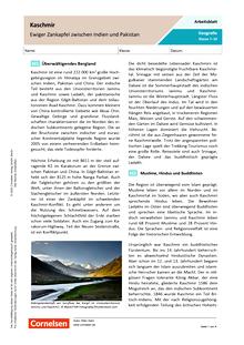 Kaschmir - Ewiger Zankapfel zwischen Indien und Pakistan - Arbeitsblatt mit Lösungen