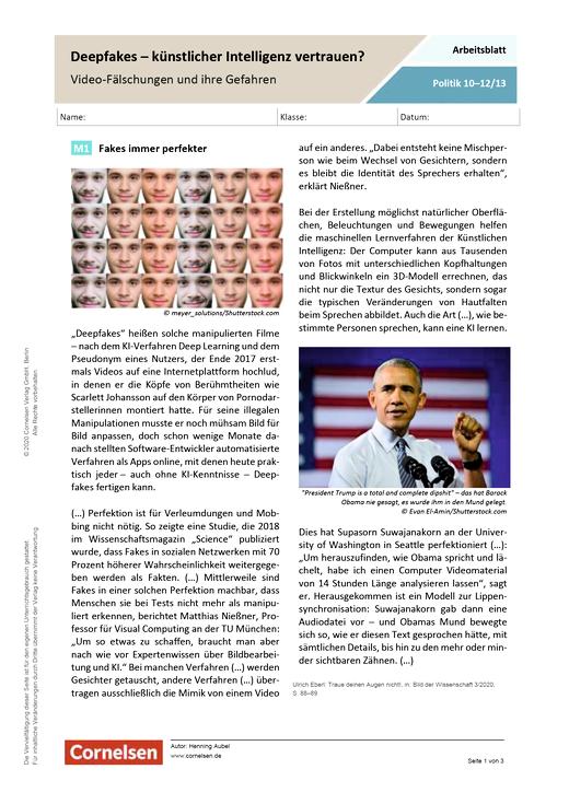 Deep Fakes - künstlicher Intelligenz vertrauen? Video-Fälschungen und ihre Gefahren - Arbeitsblatt mit Lösungen