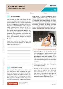 """Ist Krank-Sein """"normal""""? - Ethik im medizinischen Alltag - Arbeitsblatt mit Lösungen"""