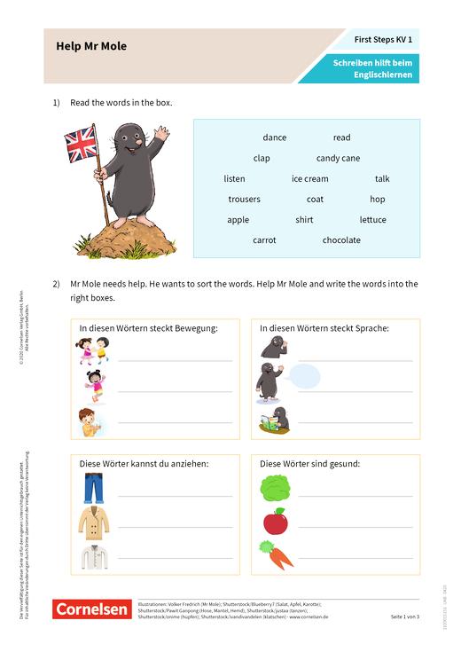 First Steps: Schreiben im Englischunterricht - Arbeitsblatt