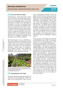 Alternative Anbauformen - Stockwerkanbau, Agroforstwirtschaft, Cultura mista - Arbeitsblatt mit Lösungen