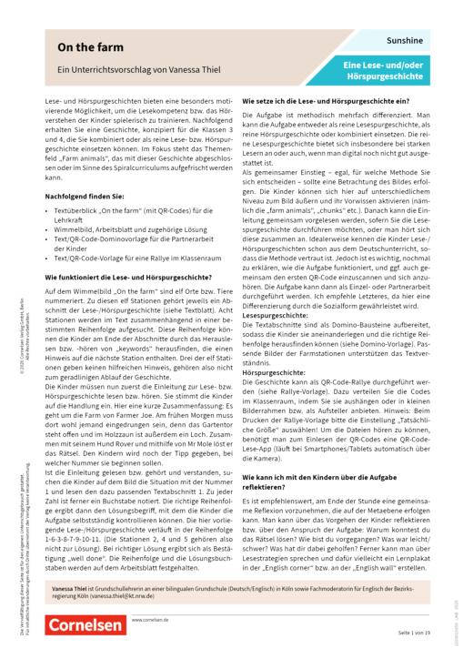 Sunshine - Sunshine: Lese- und Hörspurengeschichte mit QR-Codes - On the farm - Arbeitsblatt - 3./4. Schuljahr