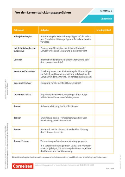 Klexer Lernentwicklungsgespräche - Kopiervorlagen