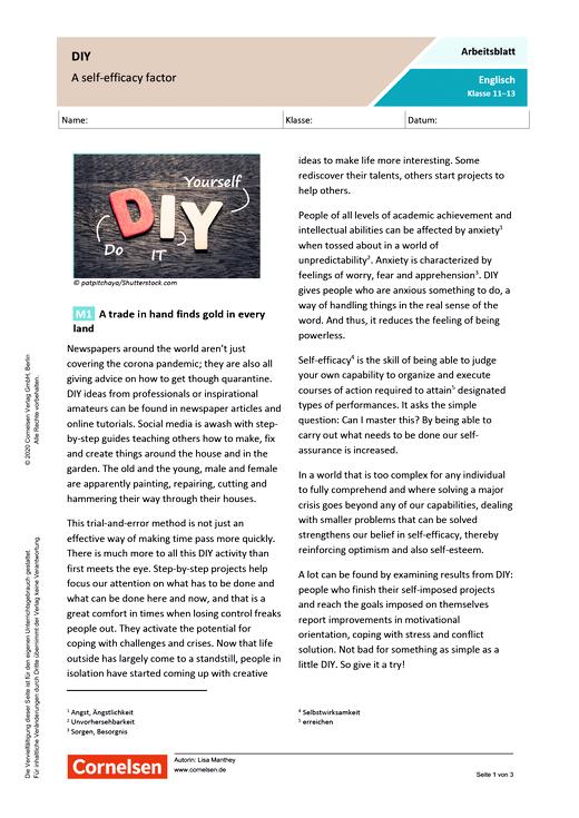 DIY: A self-efficacy factor - Arbeitsblatt mit Lösungen