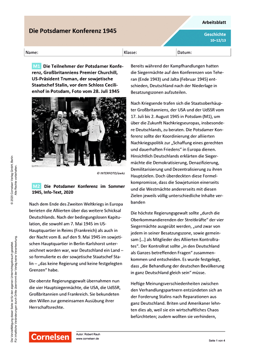Die Potsdamer Konferenz 1945 - Arbeitsblatt mit Lösungen